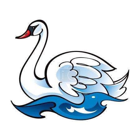 Illustration for White Swan bird fauna water lake swim feather - Royalty Free Image