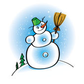 Funny cartoon Snowman with broom and bucket flakes winter