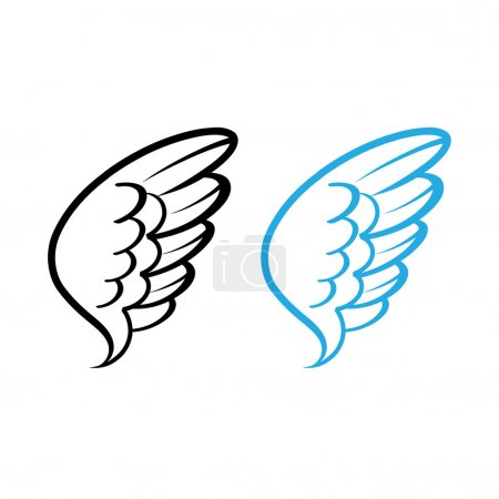 Vector illustration of Bird wing white feathers dove swan angel chicken hen