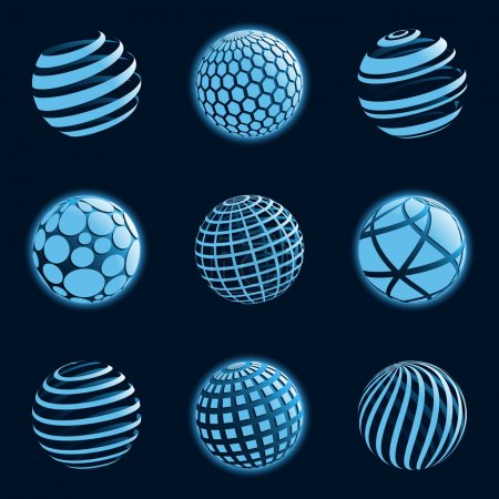 Illustration for A set of abstract blue planet icons. Vector illustration. - Royalty Free Image