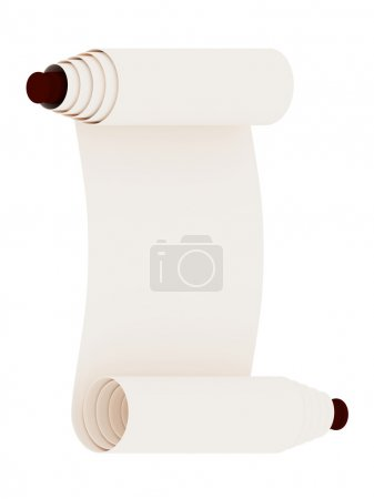 Ancient scroll. Isolated on white background. 3d r...
