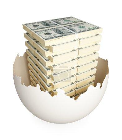 Foto de Muchos de los paquetes de dólares dentro de eggshell.isolated agrietado en blanco background.3d prestados. - Imagen libre de derechos
