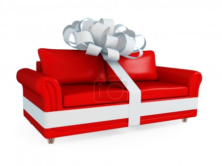 Red leather sofa wrapped with a white ribbon.