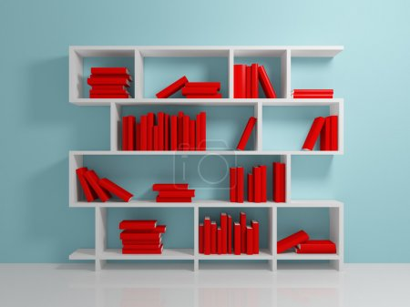 Photo for White bookshelf with a red books against blue wall. - Royalty Free Image