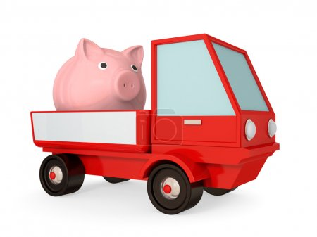 Red truck with pink piggy bank