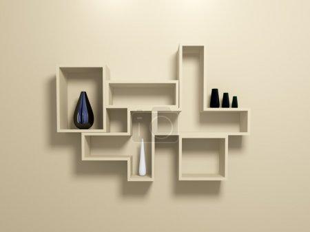 Foto de Modernos estantes de pared color beige con floreros decorativos. 3D prestados. - Imagen libre de derechos