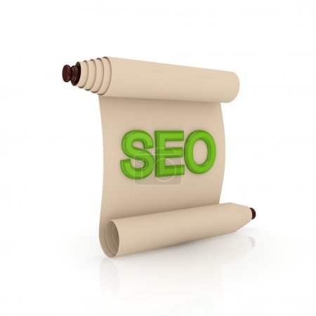 Ancient scroll with a green word SEO.Isolated on w...