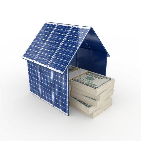 Foto de Concepto de energía solar. Aislado sobre fondo blanco.3d renderizado . - Imagen libre de derechos