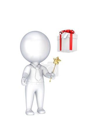 Photo pour Petite personne 3d avec une baguette magique dans une main et une boîte cadeau . - image libre de droit