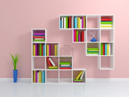 Photo for White bookshelf with a colorful books. 3d rendered. - Royalty Free Image