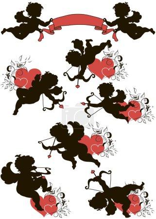 Illustration pour Un ensemble de jolies silhouettes de Cupidon décorées de cœurs et d'ornements floraux - image libre de droit