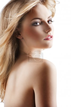 Sensual pretty woman with flying hair, she is turned of three qu