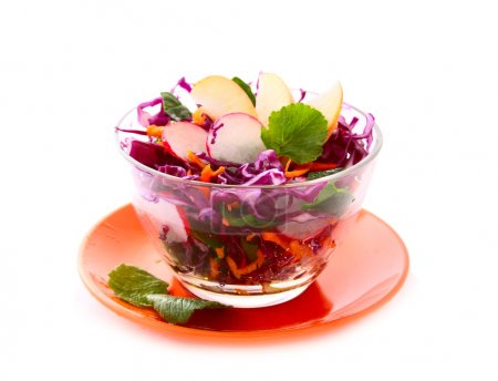 Fresh vegetarian salad with red cabbage
