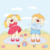 Crying little boy and girl