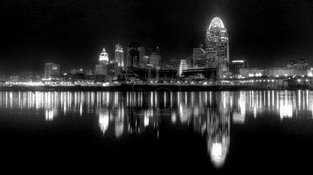 Black and white of the Cincinnati Skyline...