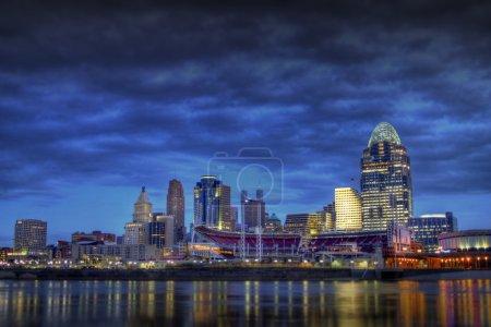 Cincinnati Skyline as seen from the riverbank of N...