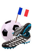 Fußball oder Fußball mit einer Nationalfahne