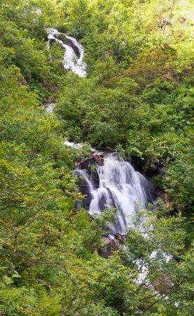 Summer mountain waterfall