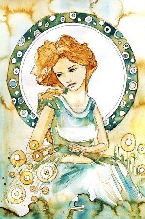 Photo pour Illustration d'une belle, romantique et coûteuse fille sur un fond abstrait - image libre de droit
