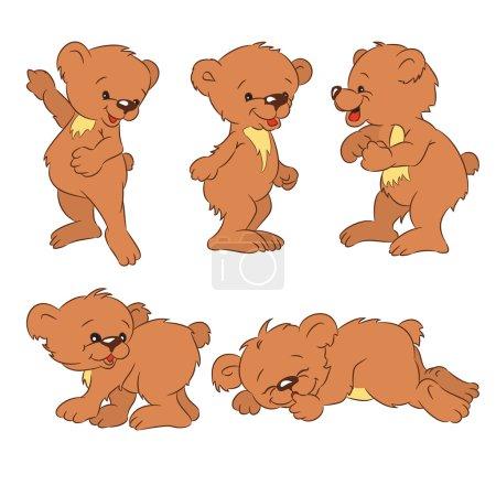 Illustration pour Quatre ours-oursons drôles, isolés d'un arrière-plan . - image libre de droit