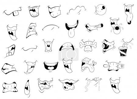 Illustration for Creative Design Art of Cartoon Mouth Expressions Vector Illustration - Royalty Free Image