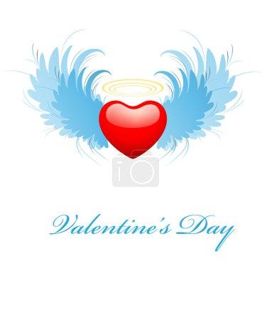 Illustration pour Créatif design décoratif conceptuel de carte de voeux de coeur volant - image libre de droit