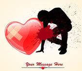 Creative Abstract Decor Design of Sad Lover with Injured Heart