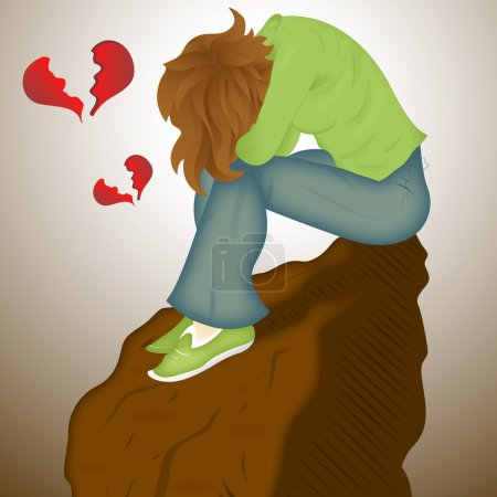Illustration for Creative Abstract Decor Design of Sad Lover - Royalty Free Image