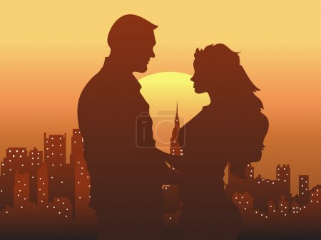 Illustration for Creative Abstract Conceptual Design of Young Couple in Love - Royalty Free Image