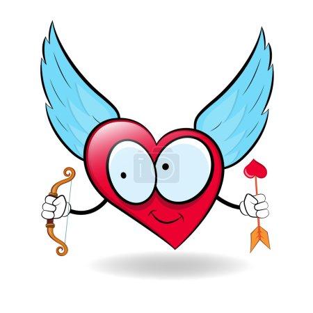 Illustration pour Conception conceptuelle abstraite créative de Cartoon Angel Heart - image libre de droit