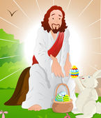 Illustration of Jesus Christ with Easter Bunny