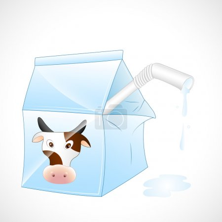 Illustration for Conceptual Design Art of Dairy Cow Milk Pack - Royalty Free Image