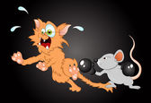 Mouse Fighting with Cat Vector