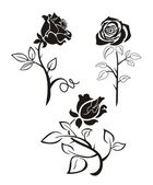 Three black silhouette of roses on a white background