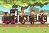 Děti jezdící abeceda vlak