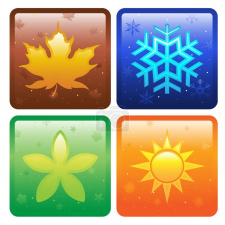 Illustration for A vector illustration of icons of four seasons - Royalty Free Image