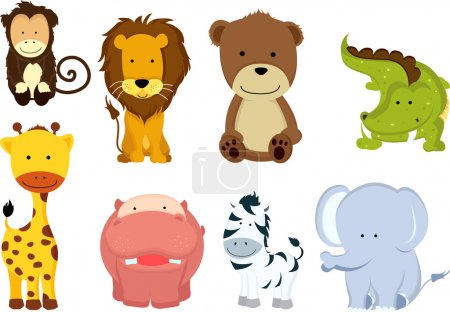 Illustration for A vector illustration of different wild animals cartoons - Royalty Free Image