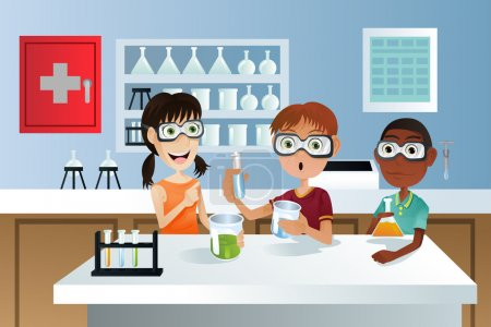 Illustration for A vector illustration of students in a science class working on a science project - Royalty Free Image