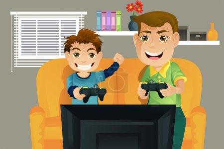 Illustration pour Illustration vectorielle d'un père et de son fils jouant à des jeux vidéo dans le salon - image libre de droit