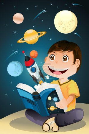 Illustration for A vector illustration of a boy reading an astronomy science book - Royalty Free Image
