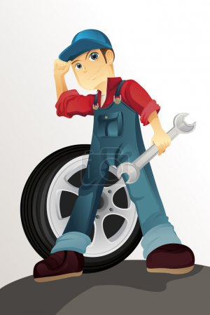 Illustration for A vector illustration of an auto mechanic - Royalty Free Image