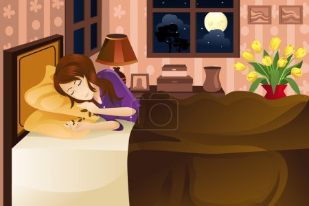 """Illustration for A vector illustration of a beautiful woman sleeping on bed. Part of """"A Day In Life"""" series (see others in my portfolio) - Royalty Free Image"""