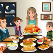 A vector illustration of a family having a Thanksg...