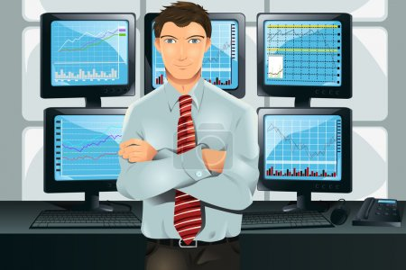 Illustration for A vector illustration of a stock trader in his office in front of multiple monitors showing graphs - Royalty Free Image