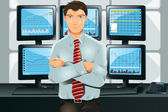 A vector illustration of a stock trader in his office in front of multiple monitors showing graphs
