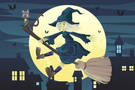 A vector illustration of a Halloween flying witch ...