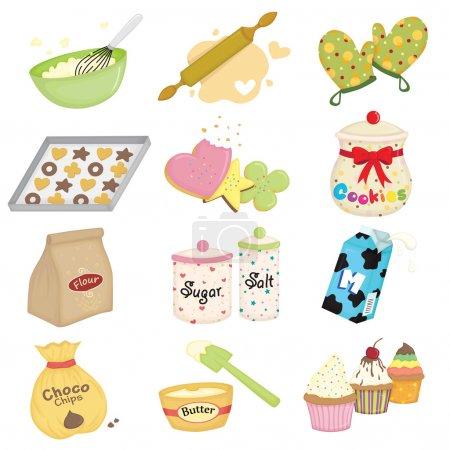 Illustration pour Illustration vectorielle des icônes des ustensiles de cuisine et de cuisson - image libre de droit