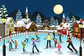 A vector illustration of ice skating in an outdoor ice skating rink during the winter season