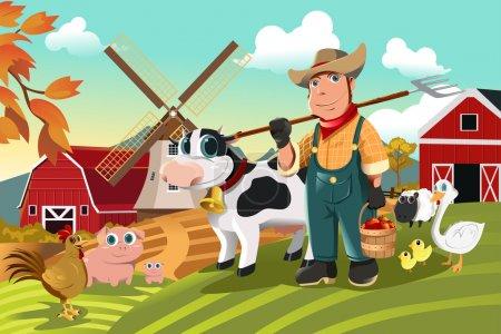 Illustration pour Illustration vectorielle d'un agriculteur de sa ferme avec un groupe d'animaux de la ferme - image libre de droit