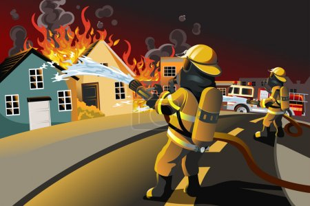 Illustration for A vector illustration of firefighters trying to put out burning houses - Royalty Free Image